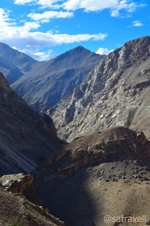 The narrow Spiti Gorge in the Hangarang region