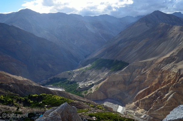 The green Leo and the Lipuk stream ahead, tributary to the Spiti River