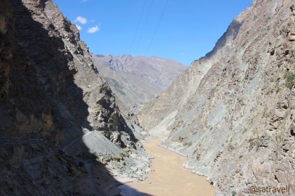 The bare gorge of muddy and tea-coloured Sutlej