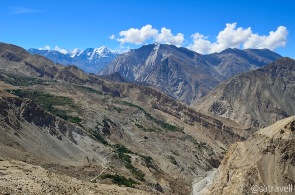 The Hangarang region, in the Spiti Valley, of Kinnaur. The road through the Maling section is also visible in the frame.
