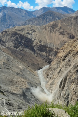 A live slide in the Spiti Valley