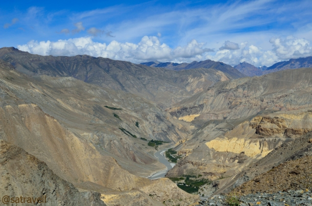 The rippling mountain formations in the Spiti Valley. The green patches belong to the village Chango and Shialkar.