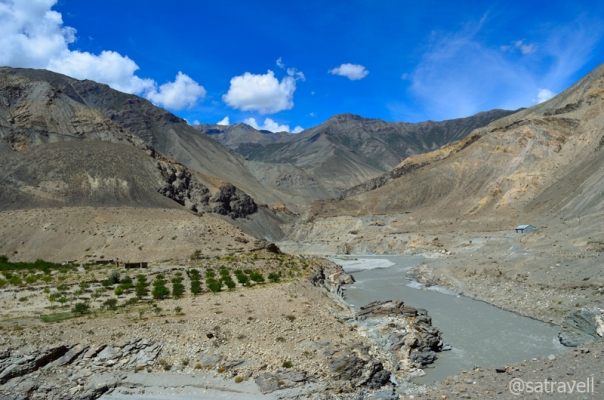 Somewhat wider section of Spiti Valley in Kinnaur