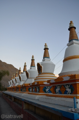 Chortens lined outside the Monastery