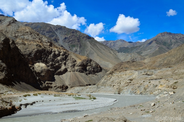 The road is on the left bank of the Spiti River