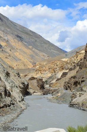 The Spiti River. The confluence of Parechu and Spiti rivers marks the administrative boundary of Spiti.