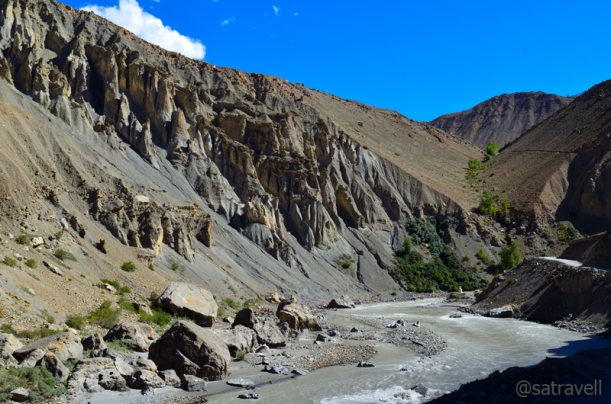 Wind-eroded formations in a narrower section of the Spiti Valley ahead