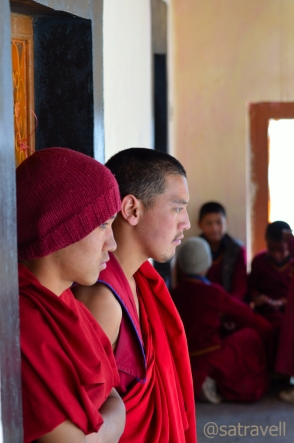 Monks on the terrace of the Gompa