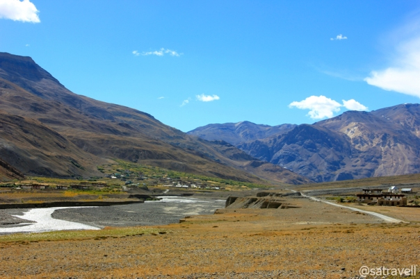 Approaching the uppermost inhabited region of the main Spiti Valley. Visible in the frame are villages of Chichong and Losar
