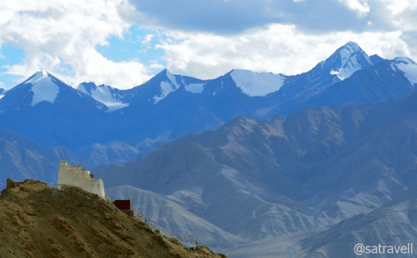 The Namgyal Tsemo Gompa against the backdrop of the imposing Stok Range