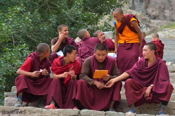Monks enjoying their routine-break inside the courtyard of Hemis