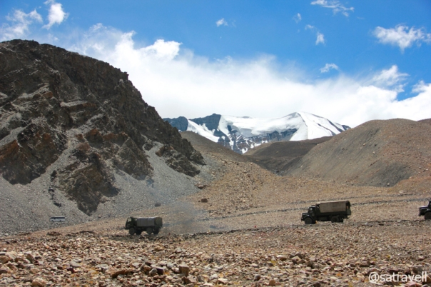 The Army Cavalcade climbing to cross the Great Himalayan Range; Pk 5608 in sight