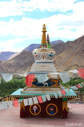 A colourful chorten built to ward-off the evil spirits of 2010 flash floods
