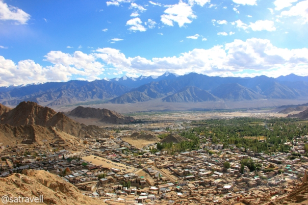A panoramic view of Leh town with the Stok Range in the backdrop