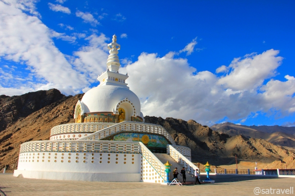 The Temple attached to the Shanti Stupa was inaugurated in 1985 by His Holiness the Dalai Lama