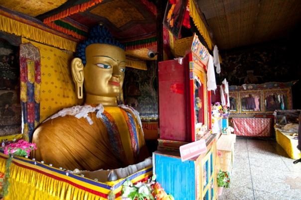 Inside the Shey Palace, copper-guilt statue of Lord Buddha, about 37 feet in height. Built in first half of the 17th century, by King Deldan Namgyal as funerary memorial of his father, King Sengge Namgyal.