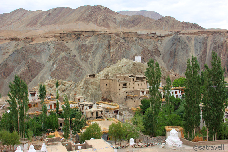 The settlement of the village and a part of the ancient Alchi Monastery. Photography was prohibited inside the complex.