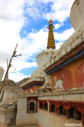 Ancient chortens and prayer wheels at Lamayuru