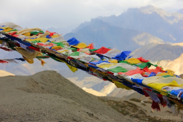For centuries, Tibetan Buddhists have tied these flags at places of spiritual importance for the wind to carry the divine vibrations across the countryside. Prayer flags are said to bring happiness, long life and prosperity.