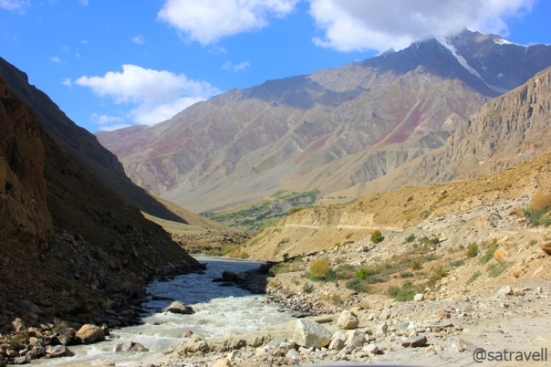 With Zanskar to left and the Great Himalayan Range on the right (of the frame), the Suru River creating an optical illusion downstream