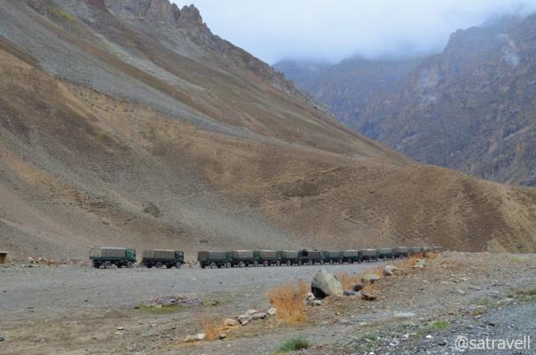 An Army cavalcade ahead.