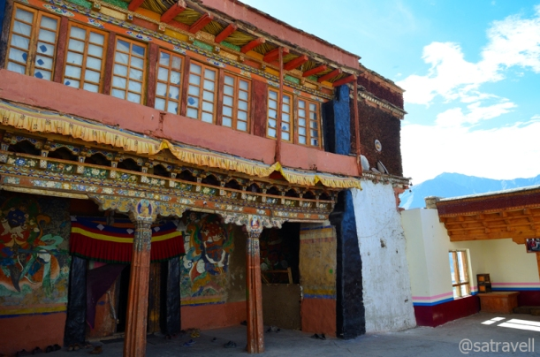 The main courtyard of the ancient Karsha Monastery complex