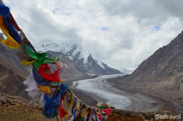 Enveloped by dark clouds, the Darung Drung Glacier