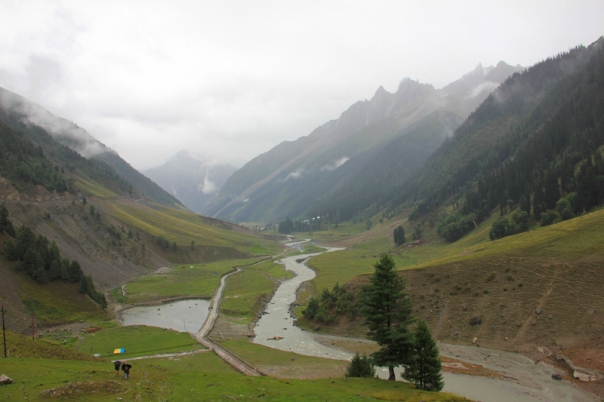 The trek by the infant Sindh near Baltal leads to the Amarnath Shrine
