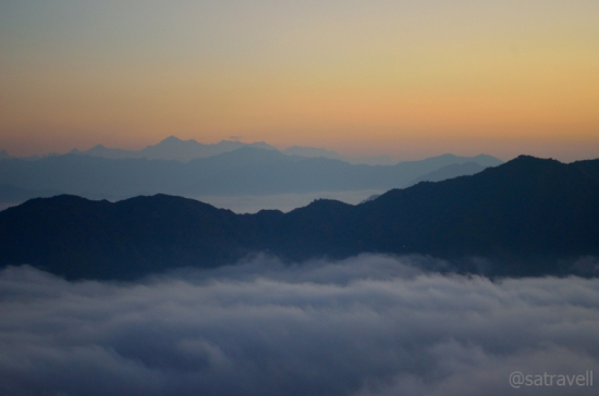 Welcoming the sun at Lansdowne; the Nayar Valley is enveloped by clouds