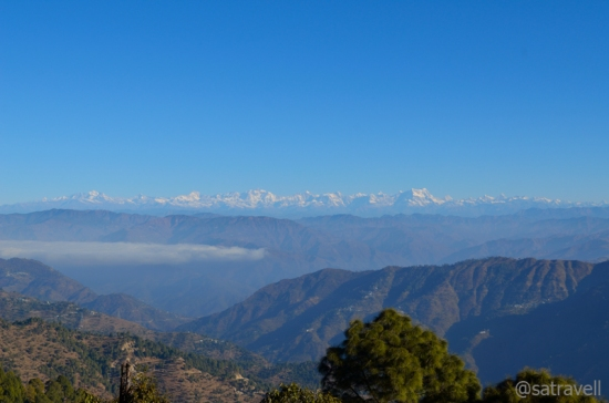 A panoramic view of the Garhwal Himalayas