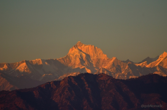The golden 6904 m Mt Thalay Sagar