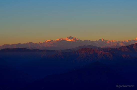 The glittering Gangotri Group as observed from Pauri.