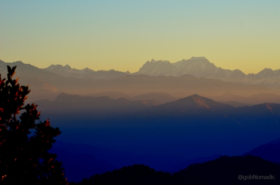 Mystical morning at Pauri; Hathi Ghori Peaks in sight