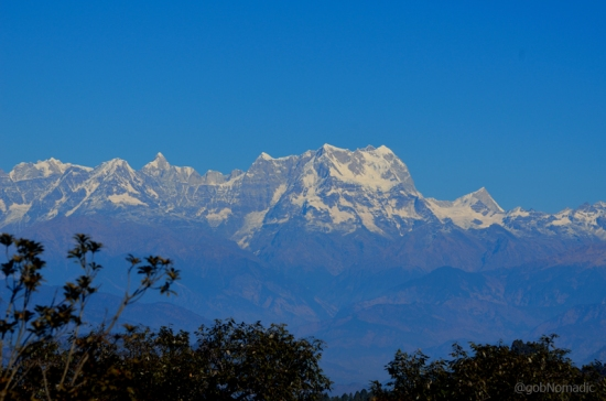 Chaukhamba massif captured from Khirsu; Satopanth and Kumling are also in the frame