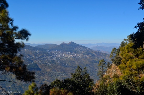 Horse-shaped Pauri town as viewed from a point near Khirsu