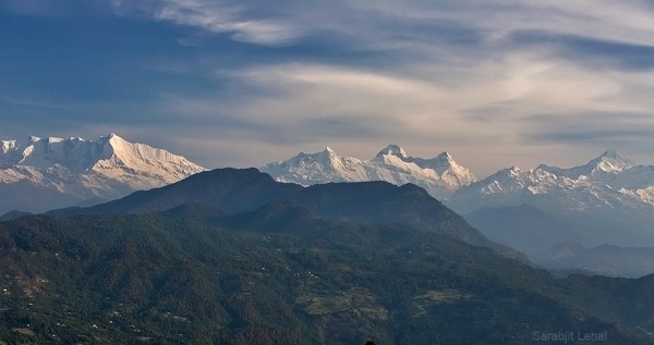 The southern outliers of Nanda Devi Biosphere Reserve captured from a point in Chaukori.