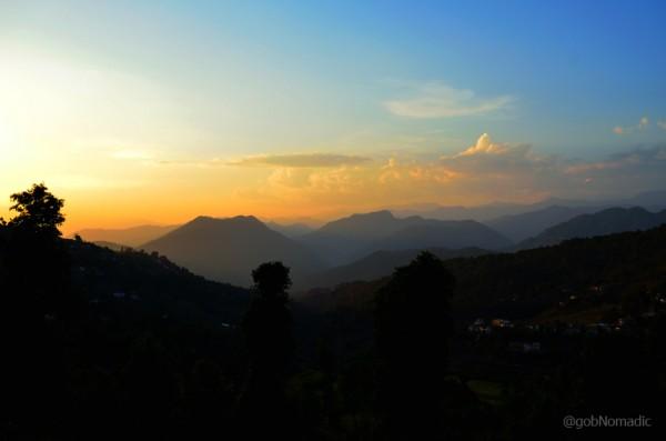 Setting sunscape near Vijaypur on the Bageshwar - Chaukori motorway