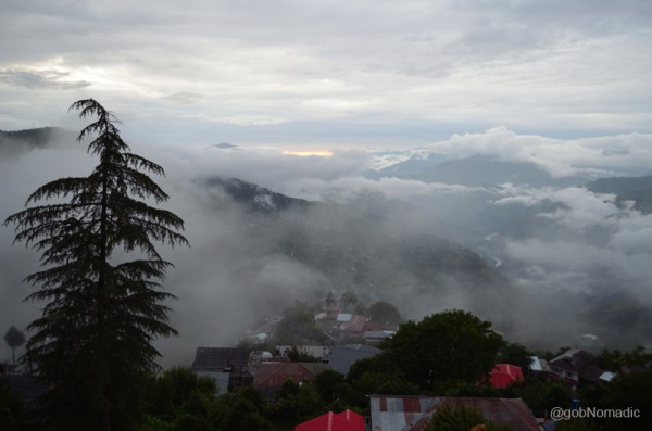 A misty view of the Kotgarh Valley on the left bank of Satluj