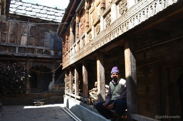 The courtyard of a traditionally kept house at Kamru. Notice the woodwork which is largely practiced in Kinnaur.