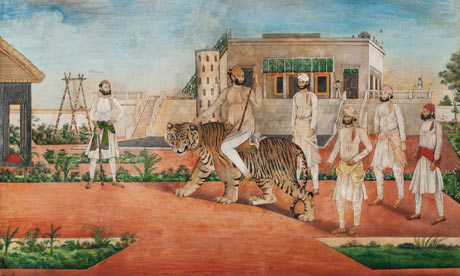 Nawab Abdul Rahman Khan of Jhajjar is often portrayed riding on a tiger. 1845-1850. Collection: Cynthia Hazen Polsky, New York.