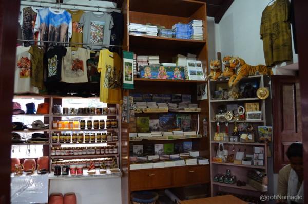 Inside the souvenir shop at the museum