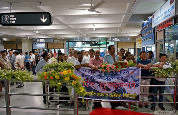 The local traders and businessmen at the airport to welcome the Yatris