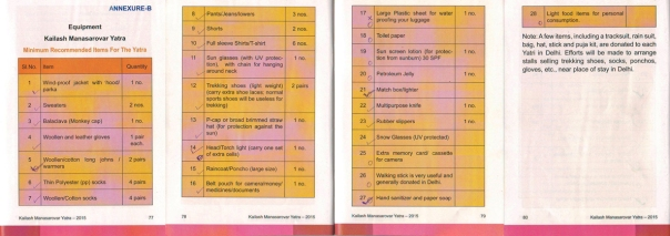 The meticulously prepared checklist of items in the MEA booklet
