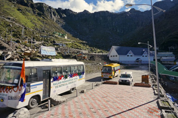 The parking and the trading mart at Sherathang
