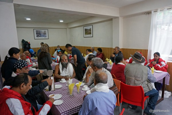 Lunching at the first acclimatisation centre on the Gangtok-Nathula highway
