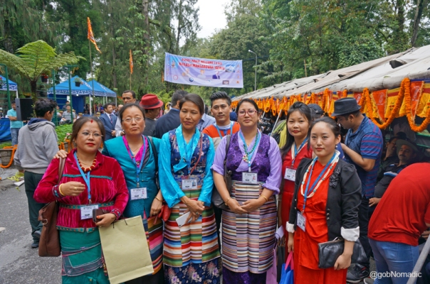 Dressed in their traditional costumes, the staff of STDC at the venue