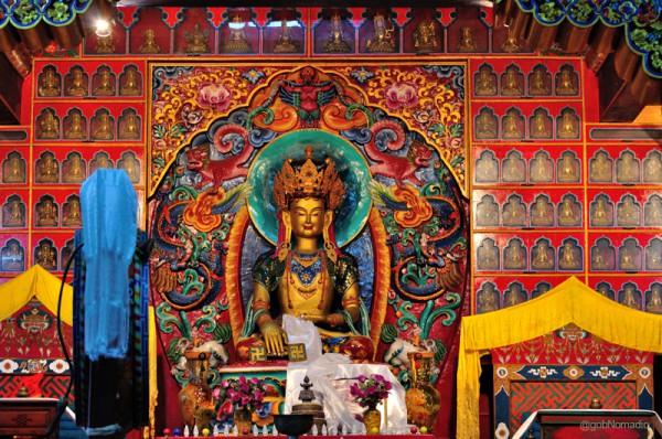 imposing image of Senrab Mibo, the primordial Deity of the Bon religion