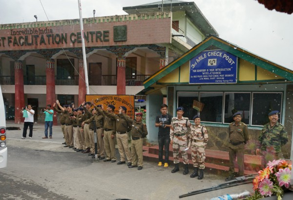 The highway Police and ITBP officers at the Third Mile check-post