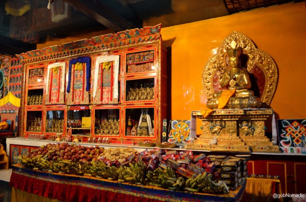 Offerings inside the assembly hall of the monastery