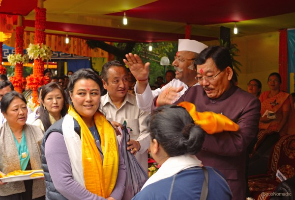 The Governor and Chief Minister of Sikkim presenting travel-kits to the yatris